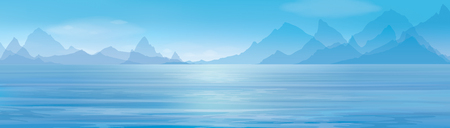 beach panorama: Vector blue panoramic sea   on  mountains  background.