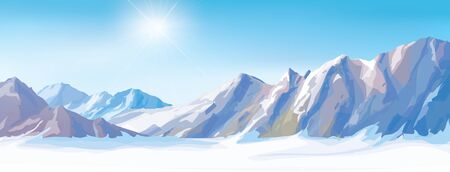 snow scape: Vector snow mountains background. Illustration