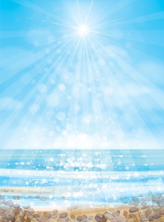 Vector oceaan met blauwe hemel en zandstrand en stenen.
