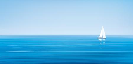 Vector mar azul, fondo de cielo y yate. Foto de archivo - 84879237