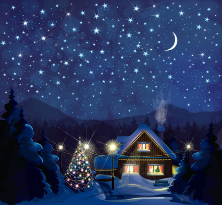 Vector night winter landscape with house, Christmas tree and starry sky  background.
