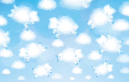 Vector white clouds sheeps shapes, cute background.