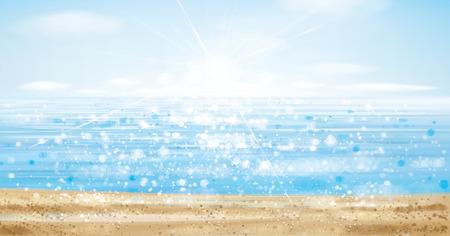 Océan de vecteur avec ciel bleu et plage de sable fin, effet flou.