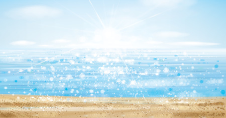 Vector  ocean with blue  sky and sandy beach, blurred effect. Illustration