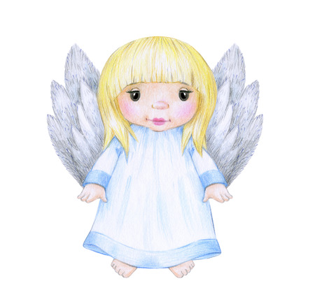 Ð¡ute little angel cartoon isolated, hand drawing. Stock Photo