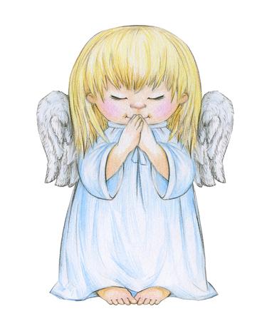 Little praying angel cartoon isolated, hand drawing. Archivio Fotografico