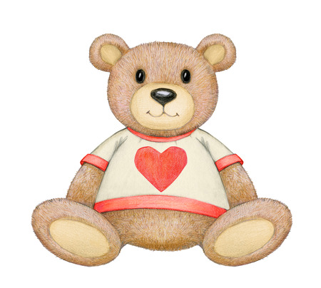Cute  sitting  bear isolated for Valentines day,  hand drawing.