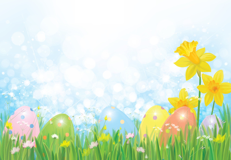 Easter eggs in grass and daffodils, Easter vector background. Vettoriali