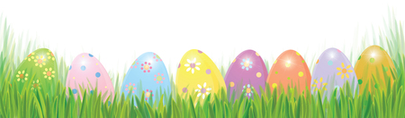 Vector Easter eggs in green grass solated border, Easter background.