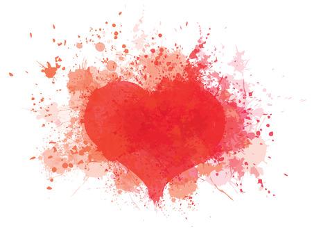 Vector red, splashing heart frame isolated.