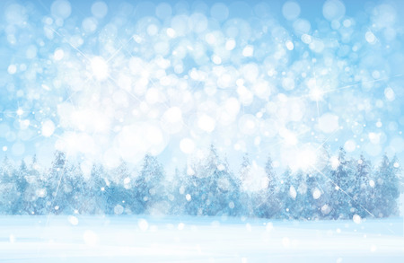 Vector  winter  snowy   forest background, snowfall,  blue, nature background.