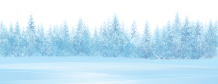 Vector winter snowy forest background, isolated border.
