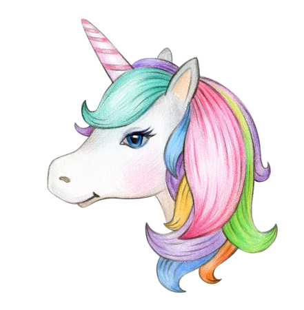 Cute, magic unicorn portrait, isolatedon white. Standard-Bild