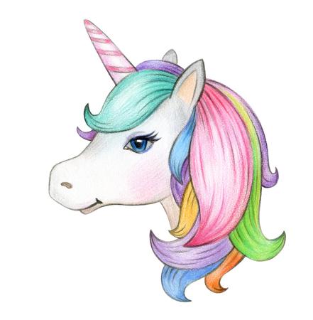 Cute, magic unicorn portrait, isolatedon white. Archivio Fotografico