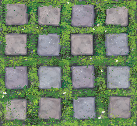 Vector seamless texture gray stones pavement covered grass.