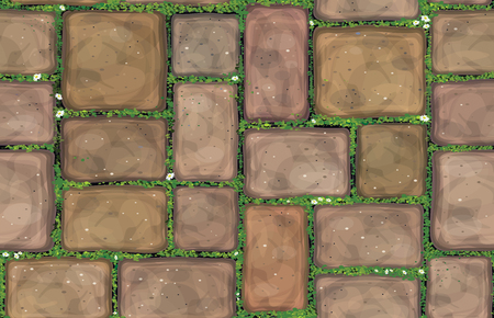 Brown stones pavement covered grass vector seamless texture.