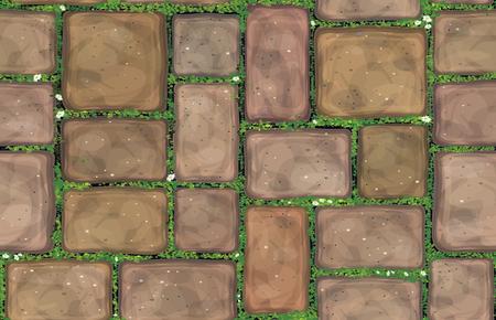 Chodnik brązowy kamienie pokryte trawą wektor tekstura.