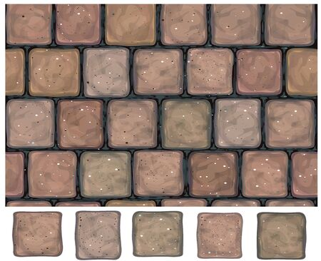 Stones wall, pavement and brick elements for design vector seamless texture. 矢量图像
