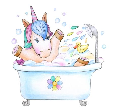 Bathing baby unicorn, isolated on white. Stock Photo