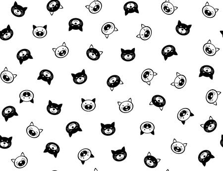 Nahtloses Muster der lustigen Katzen des Vektors, Schwarzweiss-Schattenbilder, lokalisiert auf Weiß.