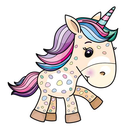 Vector de dibujos animados lindo bebé unicornio, aislado en blanco.