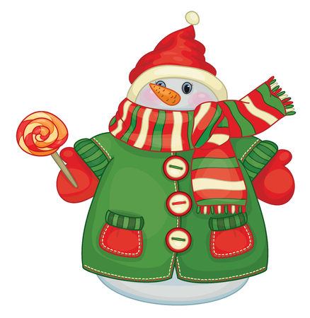 Vector cute snowman cartoon holding candy,   isolated on white.
