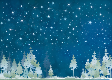 Vector winter night starry sky and  forest background. Çizim