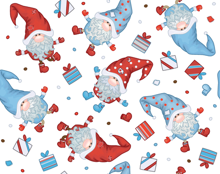 Vector  Christmas seamless pattern.  Gnomes cartoons  isolated on white.