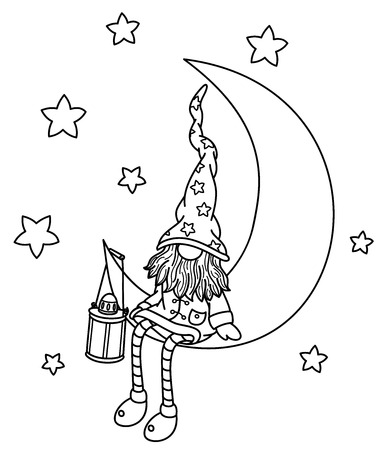 Vector   gnome cartoon sitting on the moon, black silhouettes isolated on white.
