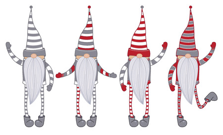 Vector   gnomes cartoons  isolated on white.