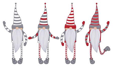 Dessins animés de gnomes de vecteur isolés sur blanc.