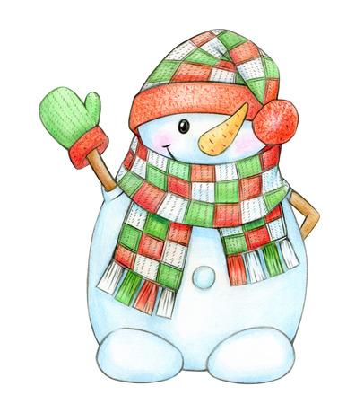 Happy snowman cartoon,  isolated on white.