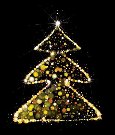Vector golden, glitter Christmas tree. Christmas tree greeting card.