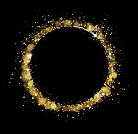 Vector golden, glitter, circle frame. Holiday background.