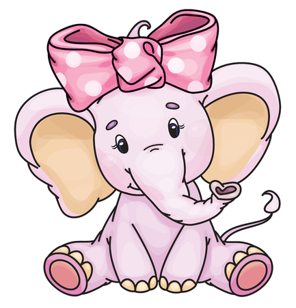 Vector cute baby elephant isolated on a white background.