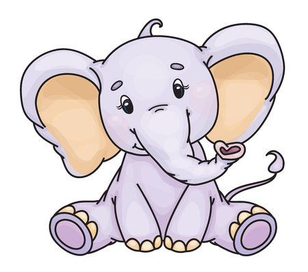 Vector cute baby elephant isolated on a white background. 矢量图像