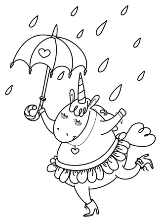 Vector funny unicorn with umbrella, black silhouette isolated on white for coloring.