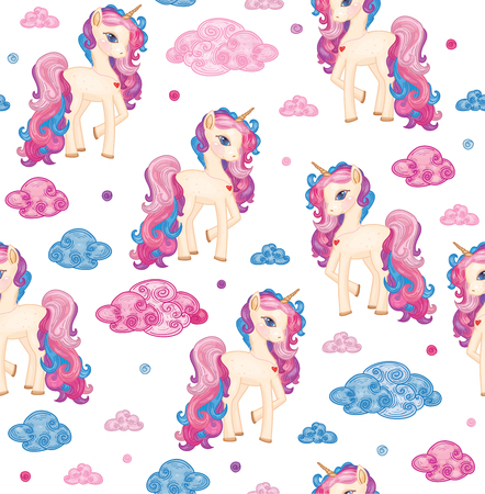 Vector cute seamless pattern,  unicorns and clouds, isolated on white. Archivio Fotografico - 122613973