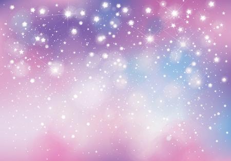 Vektoreinhorn, funkelnder Hintergrund mit Lichtern und Sternen.