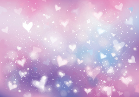 Vector unicorn background with  hearts, lights and stars.  Holiday background. Archivio Fotografico - 122613975