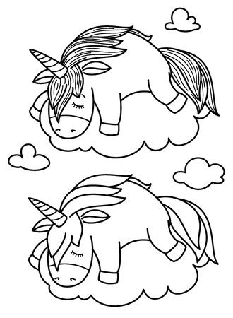 Vector cute, sleeping  unicorn on cloud, black silhouettes for coloring. Archivio Fotografico - 122613978
