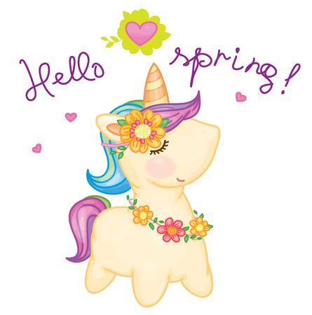 Vector cute  baby unicorn cartoon.Vector cute  baby unicorn cartoon. Hello spring.