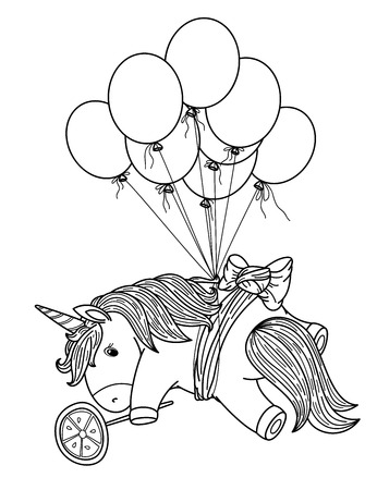 Vector cute unicorn with balloons, black silhouette for coloring. Иллюстрация