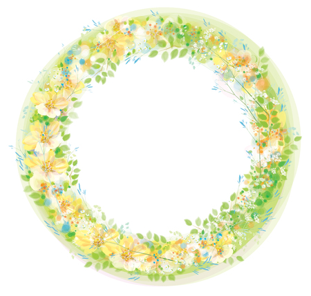Vector  floral  circle  frame. Fowers and leaves, bokeh effect isolated on white.