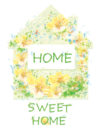 Vector  floral house symbol. Home sweet home text, isolated on white. Archivio Fotografico - 122614121
