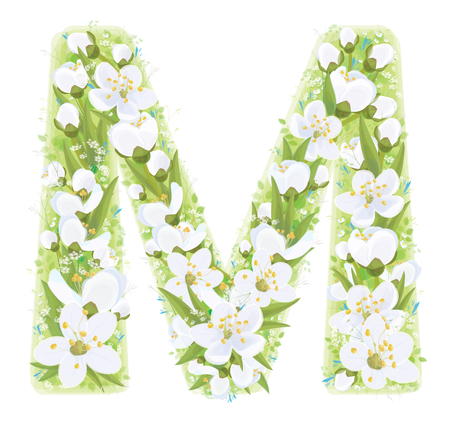 Vector  letter M decorated white flowers and leaves pattern, isolated on white. Vettoriali