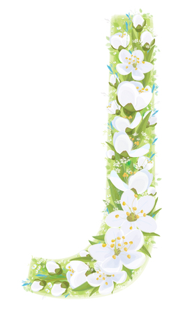 Vector  letter J decorated white flowers and leaves pattern, isolated on white. Archivio Fotografico - 122614122