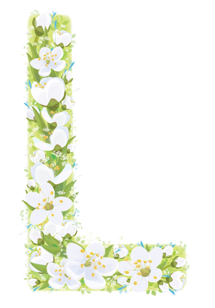 Vector  letter L decorated white flowers and leaves pattern, isolated on white.