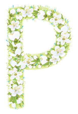Vector  letter P decorated white flowers and leaves pattern, isolated on white.