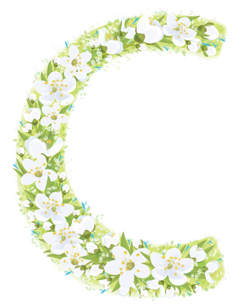 Vector  letter C decorated white flowers and leaves pattern, isolated on white.